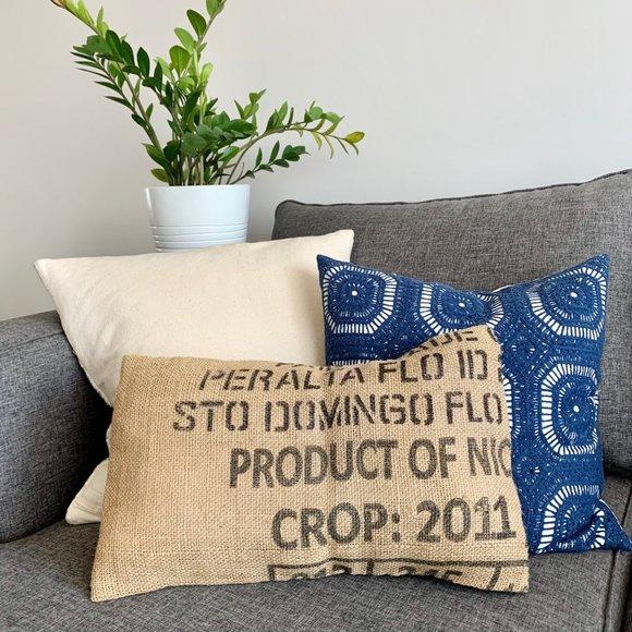 "Burlap Lumbar Pillow Cover Handmade 13"" x 20"""